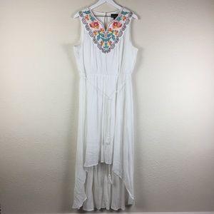 AUW White Boho Hi-Lo Dress